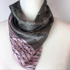 ECHO 100% Silk Scarf Rose Gray Floral Print